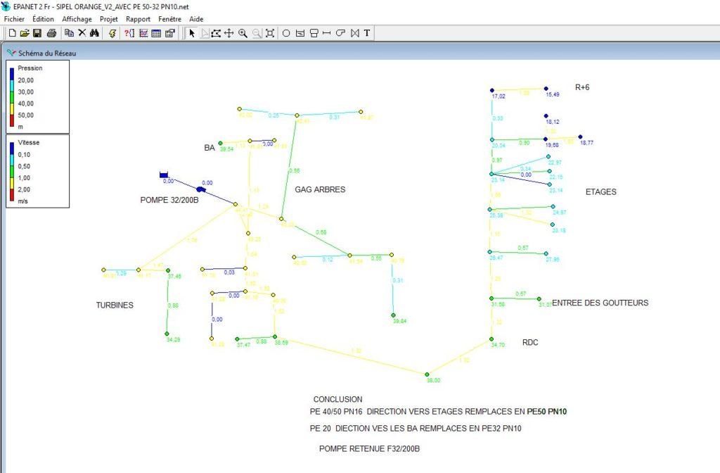 SIMULATION V2 AVEC PE 40 PN16 REMPLACES EN PE50 PN10